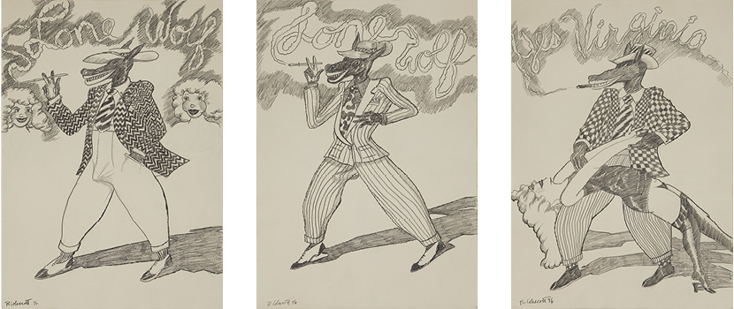 Robert Colescott, Lone Wolf Trilogy (Strutting His Stuff, Checking It Out, Yes Virginia), 1976, Graphite on Paper, Courtesy of The Robert H. Colescott Separate Property Trust and Blum & Poe, Los Angeles/New York/Tokyo