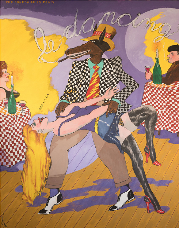 Robert Colescott, Lone Wolf in Paris, 1977, Acrylic on canvas, © 2021 The Robert H. Colescott Separate Property Trust / Artists Rights Society (ARS), New York, Collection of Ed & Sandy Martin - promised gift to Los Angeles County Museum of Art