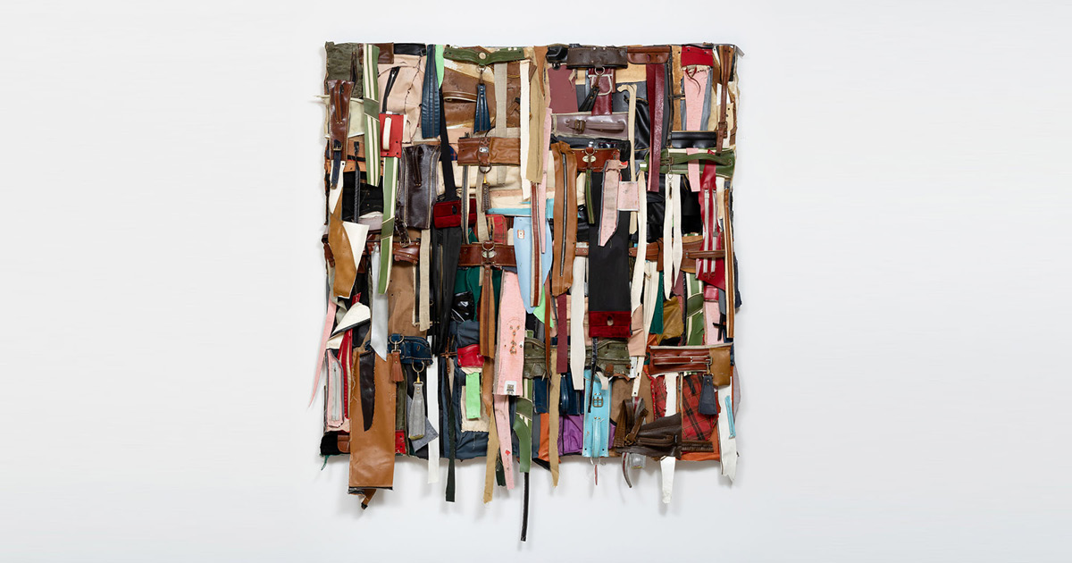 Charles McGill, Shredded Quilt II, 2016 Reconfigured golf bag parts on panel, 72 x 72 x 6 in. Courtesy of the Estate of Charles McGill Photo: Jenny Gorman