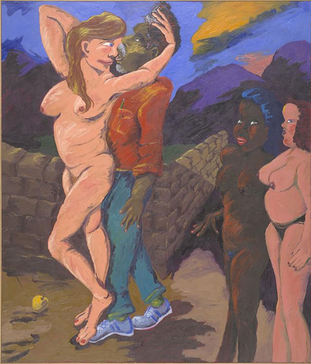 Robert Colescott, The Judgment of Paris, 1984, Acrylic on canvas, © 2021 The Robert H. Colescott Separate Property Trust / Artists Rights Society (ARS), New York, Collection of Jordan D. Schnitzer