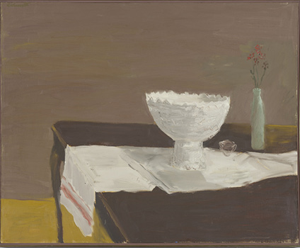 Robert Colescott, White Bowl (Distance Traversed), 1962, Oil on canvas, © 2021 The Robert H. Colescott Separate Property Trust / Artists Rights Society (ARS), New York, Collection of Jordan D. Schnitzer