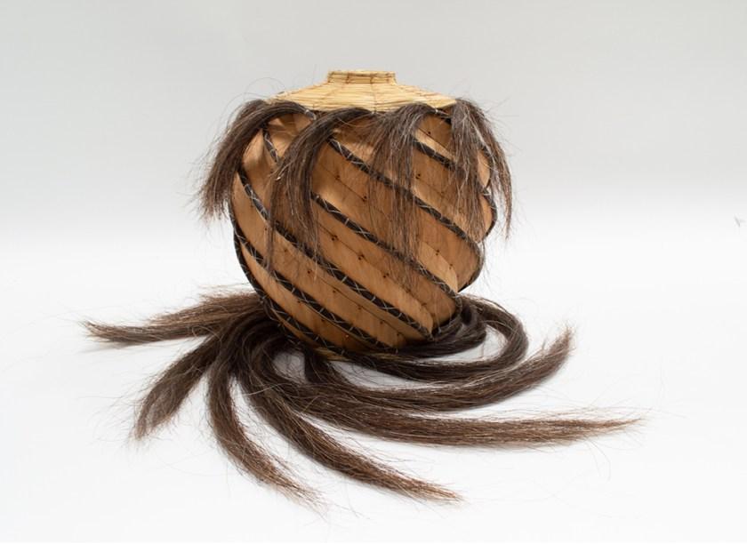 Aranda\Lasch + Terrol Dew Johnson, Horse Hair and Wood 02, 2018, Horse hair, wood, bear grass, sinew, 12 x 12 x 14 in., Courtesy of the artists