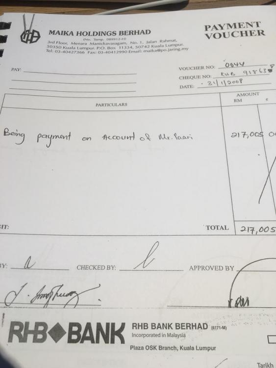 Cash payment to Vell Paari? Part of the documentation now lodged with MACC