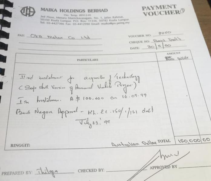 One of several alleged payments submitted related to OKA Motors in Perth