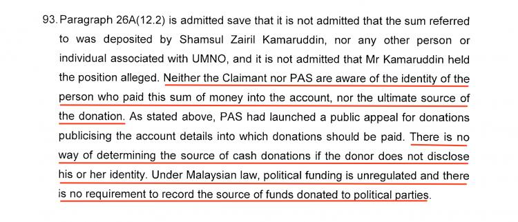 Having said the money definitely didn't come from UMNO in public, Hadi told the court he didn't know where the money came from, thanks to political funding being 'unregulated' in Malaysia
