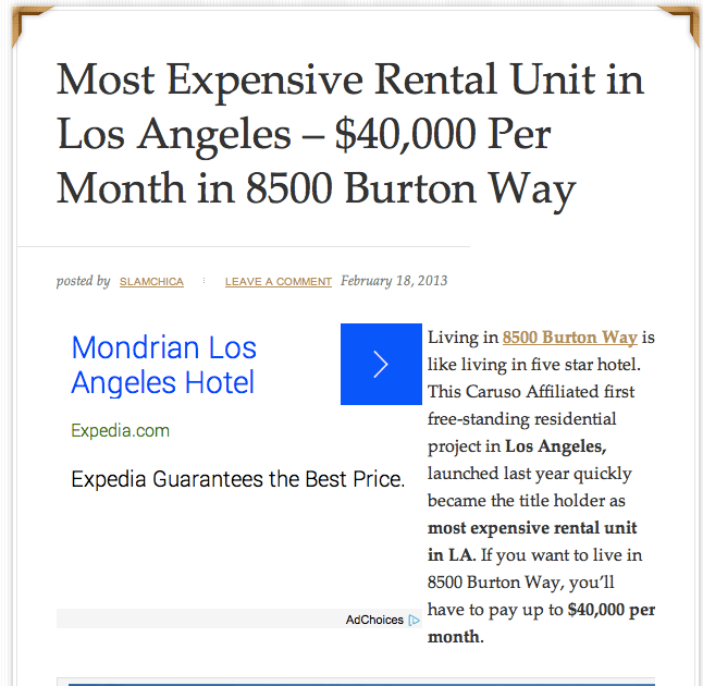 $40,000 a month at 8500 Burton Way
