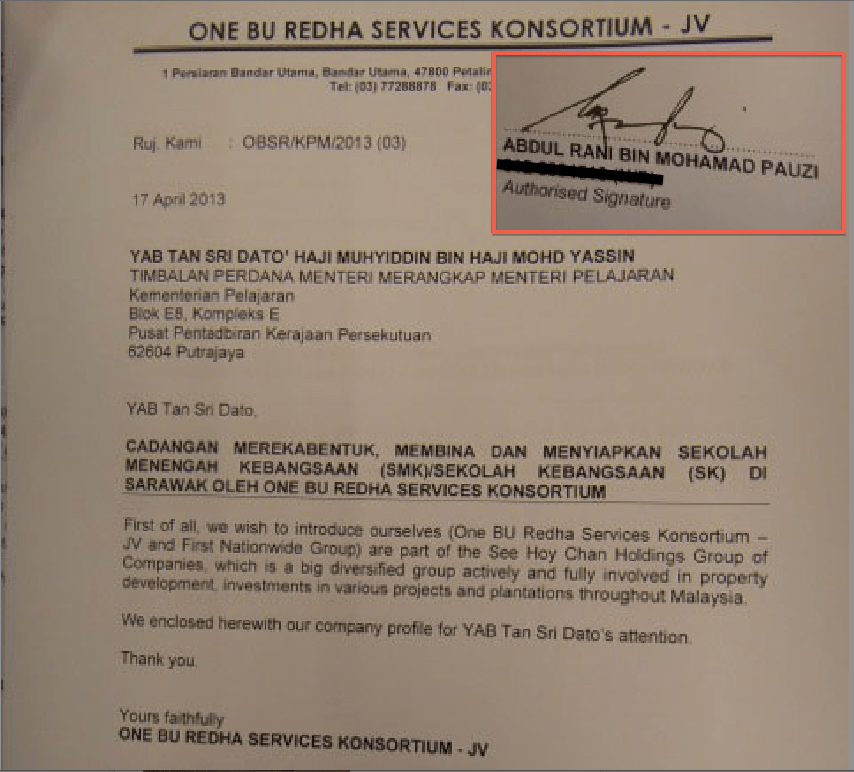 Letter signed by Abdul Rani Pauzi claiming his consortium is part of the renowned See Hoy Chan Group