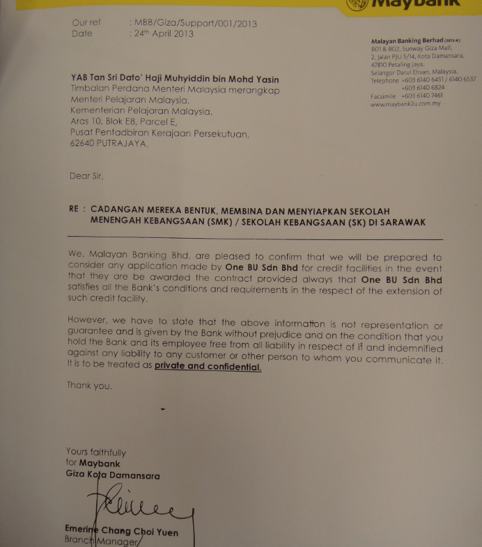 Letter of recommendation from Maybank assuring access to credit facilities - send to DPM Muhyiddin Yassin