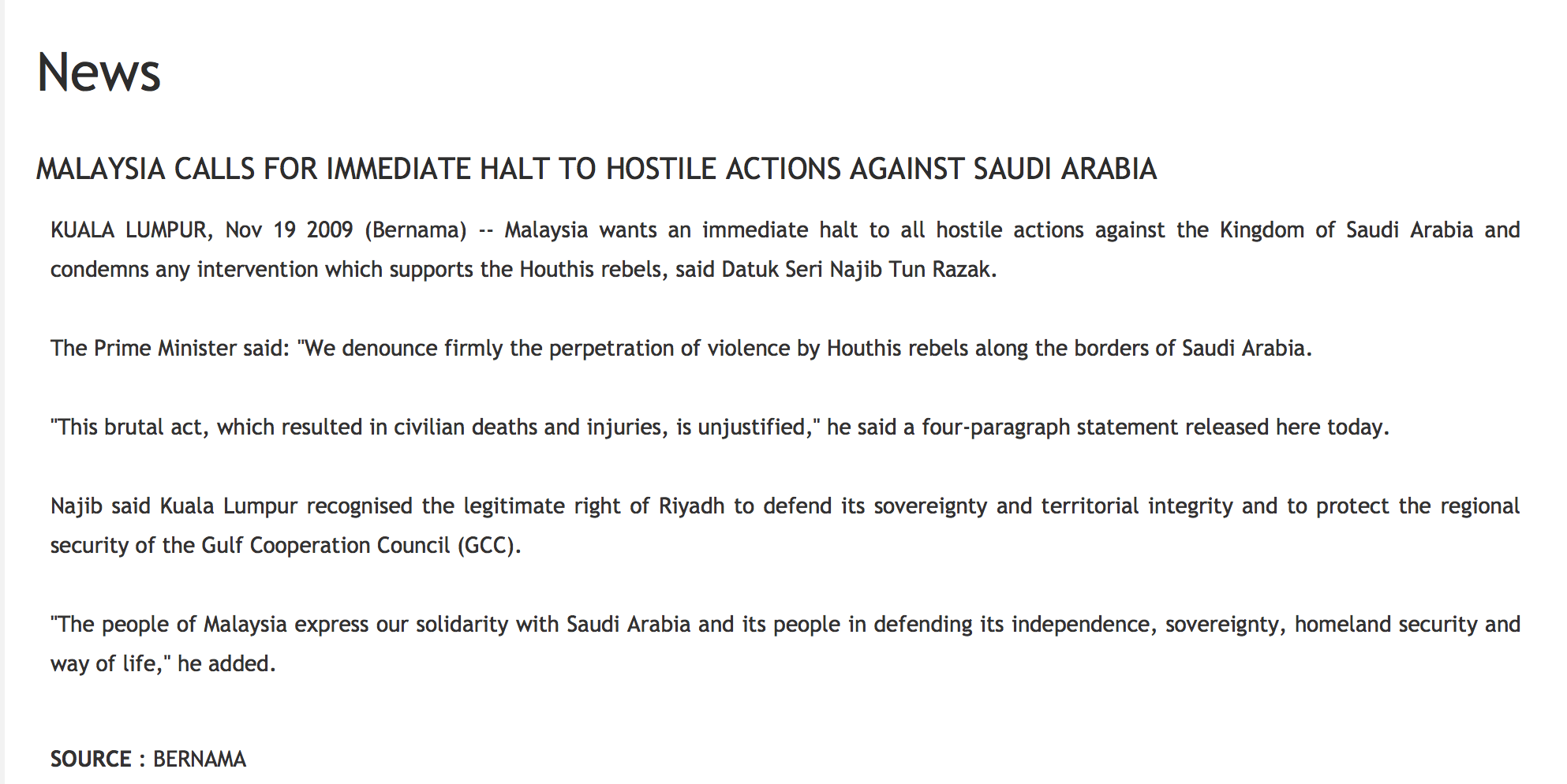 Fixed by Jho Low for Tarek - Malaysian solidarity for Saudi Arabia's attacks on North Yemen