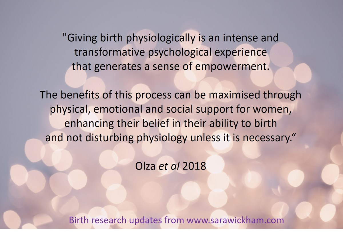 Positive benefits of physiological birth