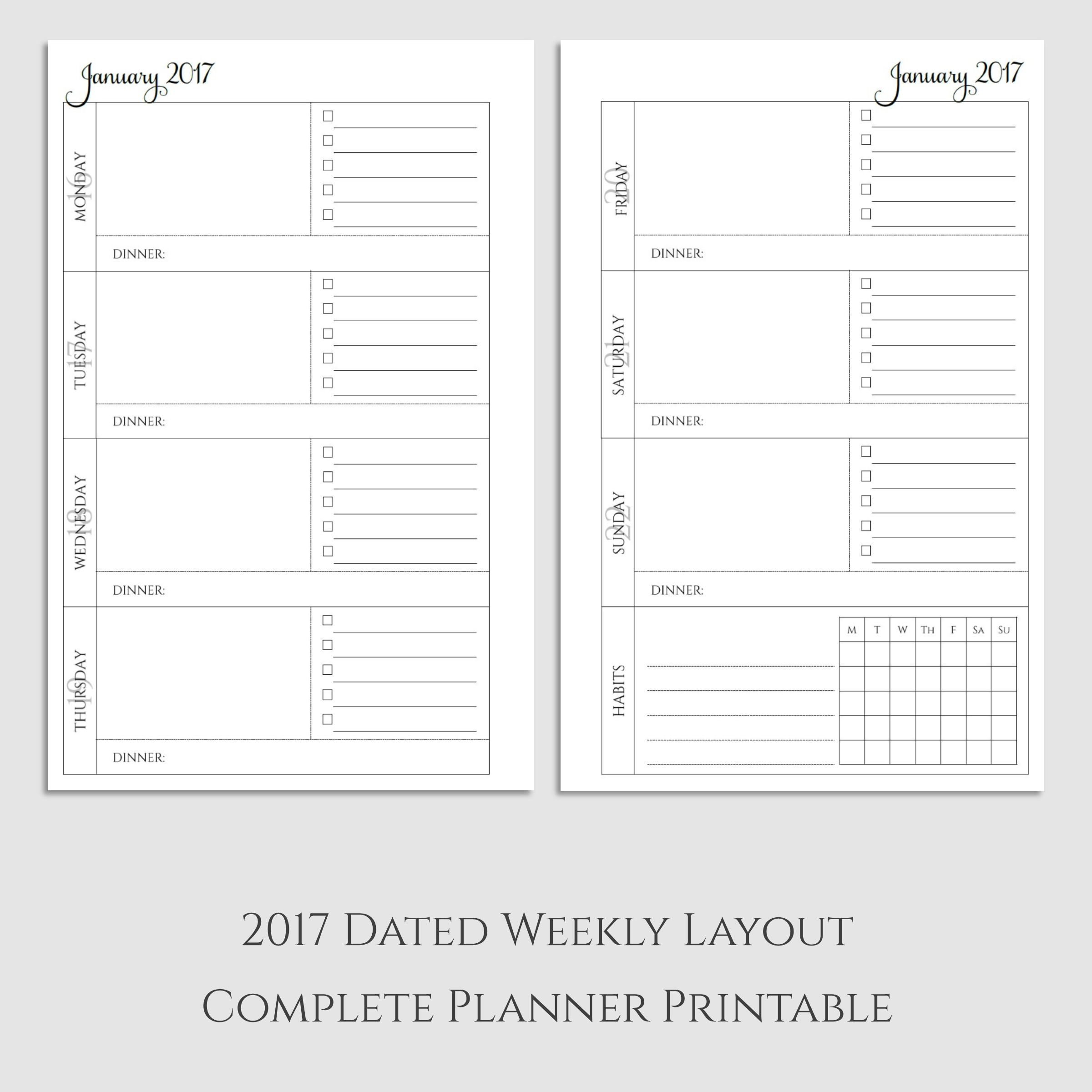 Complete Weekly Planner Printable With Dinner Amp Habit Tracker