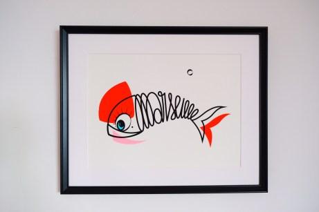 Sérigraphie d'Art Sardine of Marseille-orange et rose