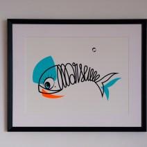 Sérigraphie d'Art Sardine of Marseille-vert deau et orange fluo
