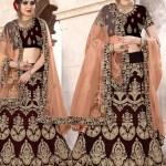 Buy Embroidered Velvet Brown Lehenga Choli Online