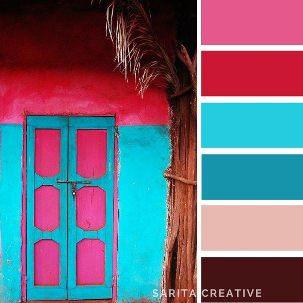 "Colour Inspiration ""The Tropics"" hot pink, aqua and dark chocolate brown"