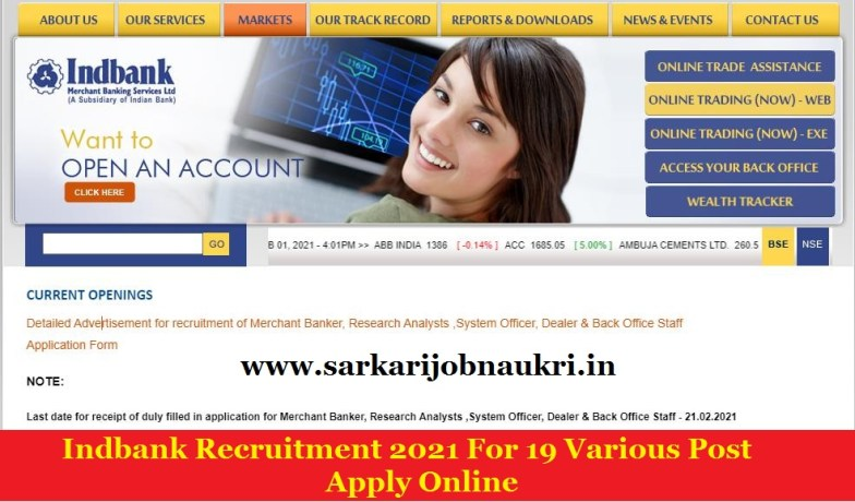 Indbank Recruitment 2021 For 19 Various Post Apply Online