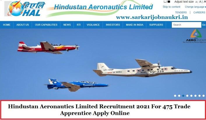Hindustan Aeronautics Limited Recruitment 2021 For 475 Trade Apprentice Apply Online