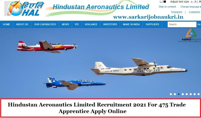 Hindustan Aeronautics Limited Recruitment 2021 For 475 Trade Apprentice Apply Online