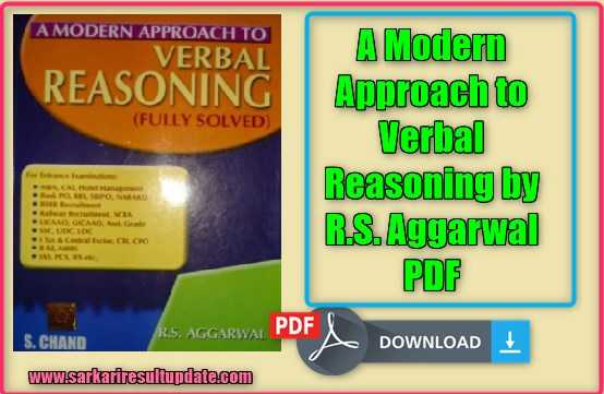 A Modern Approach to Verbal Reasoning by R.S. Aggarwal PDF