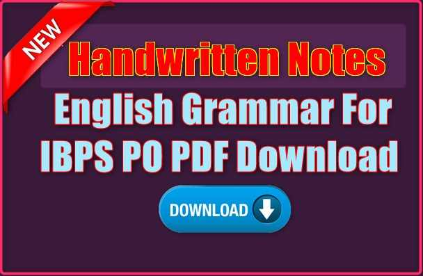 Handwritten Notes English Grammar For IBPS PO PDF Download