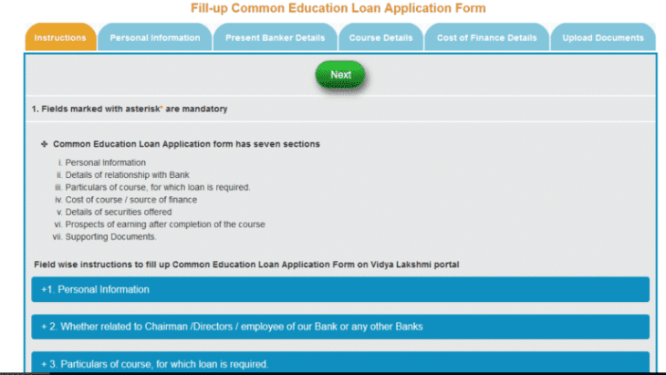 Vidya Lakshmi Portal Loan Application Form