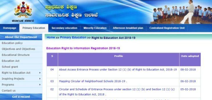 RTE Karnataka 2018-19 Admission Online