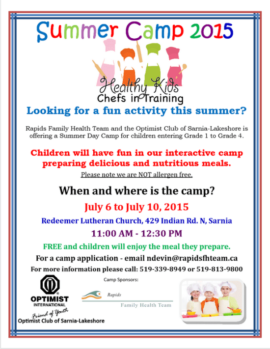 Healthy Kids Chefs in Training Summer Camp 2015