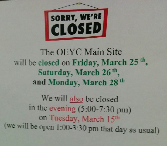 OEYC hours March 2016