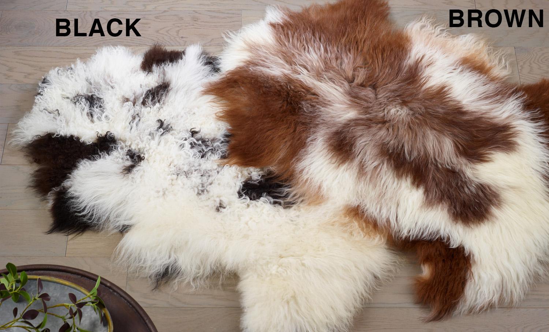 Saro 3567 Natural Black Mongolian Lamb Throw Rug