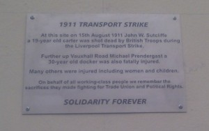 1911 Transport Strike Memorial Plaque