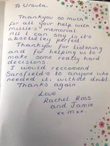 Sarsfield Memorials Customer Feedback