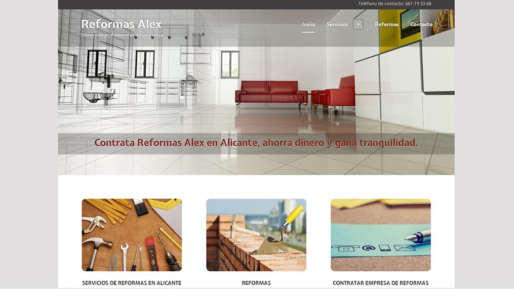 Diseño web de reformas Alex Campello - Estudio de diseño - comunicación corporativa - fotografía y agencia de publicidad en Alicante