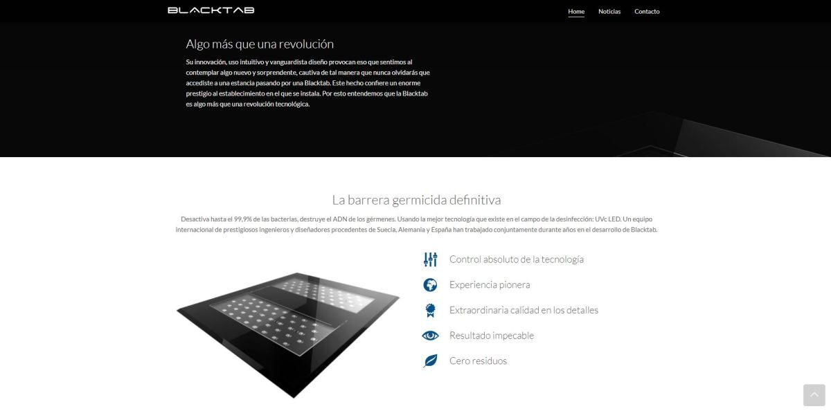 Diseño web para producto de I+D+I Blacktap UVC