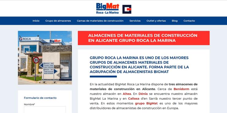 Diseño web para BigMat Roca – La Marina