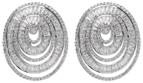 Amishi Luxury large Silver plated Crystal oval earrings