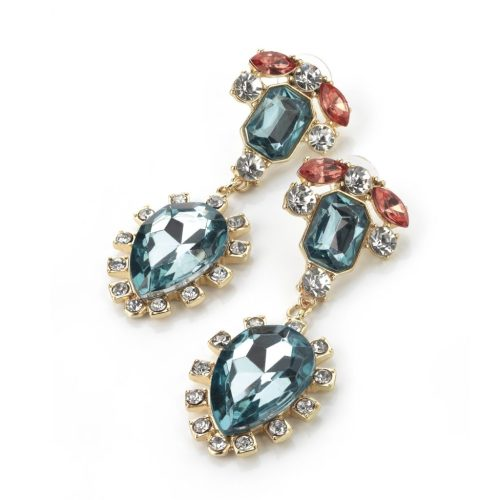 Blue topaz, clear & peach coloured crystal effect drop earrings