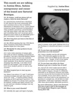 Omni Magazine article Justine at Sartorial