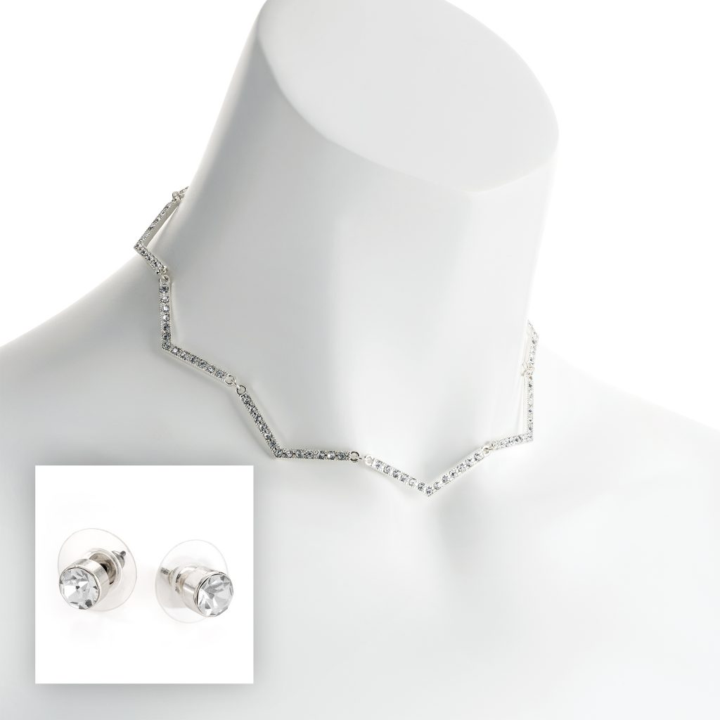 silver colour crystal zig zag necklace and stud earring set n30835