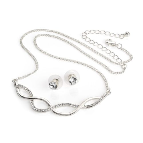 silver colour crystal infinity necklace and stud earrings n30923