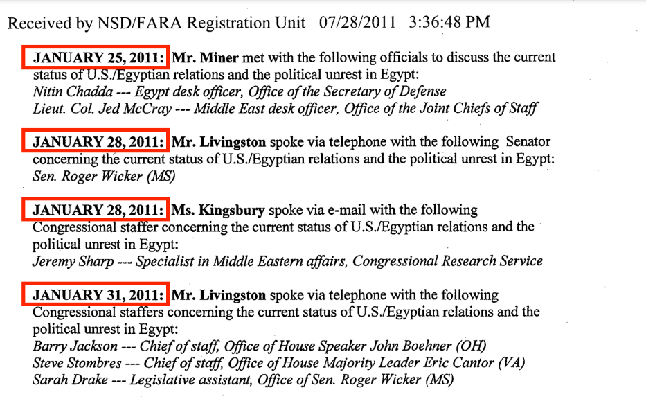 A picture from The Livingstone Group documents revealing some of the company's activities during the most important days of the Egyptian revolution - 25 January and 28 January, the Friday of Rage. The activities show that the company communicates with various US entities, such as the US Army and offices of congressional leaders. Source: US Department of Justice website [sasapost.com]