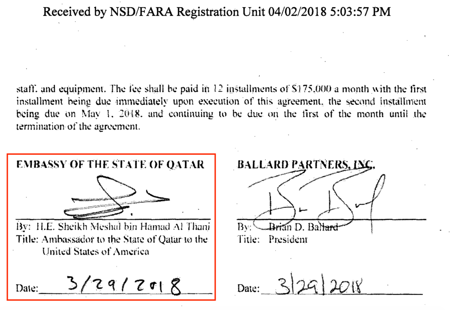 From the Qatari Embassy's contract with Ballard Partners. The photo shows the signature of Meshal Bin Hamad Al-Thani, the Qatari ambassador to Washington. Source: US Department of Justice website [sasapost.com]