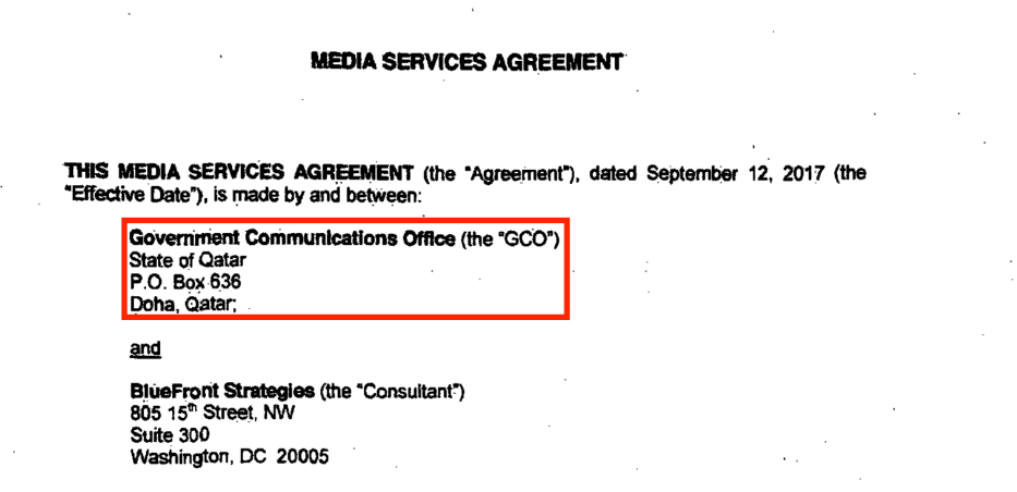 Government Communications Office in Qatar's contracts with Bluefront Strategies to launch a media campaign in the US and on social media platforms about the blockade and the Gulf crisis. Source: US Department of Justice website [sasapost.com]