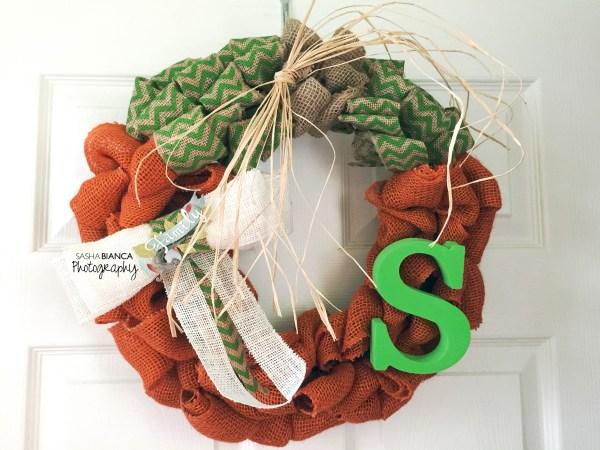 diy burlap autumn pumpkin wreath