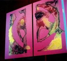 Eros | grabado bajo luz roja · presentado en la sala Eros | 4 x 8 metros