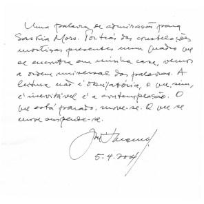 nota de José Saramago