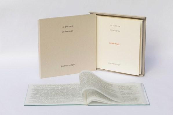 Libro de artista · as palavras - las palabrasTexto José Saramago · open book