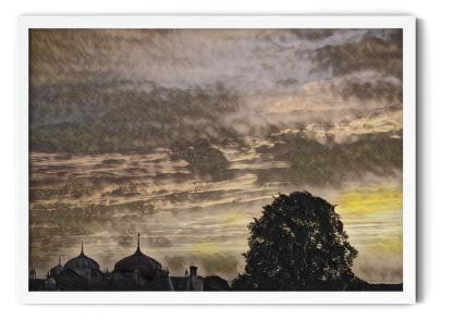 PT01: Gurdwara in Sunset. Impressionist oil wall art picture