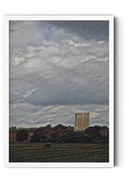 PT04: 12th Century Castle Keep. Classic oil painting wall art picture