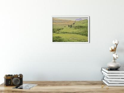 Sheep in the Valley of Deep Freeze Mountains Wall Art Picture. Style option PT06. Sample picture