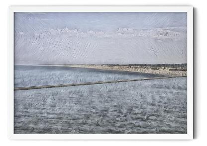 PT03: De Pier Hoek van Holland landscape wall art picture. Impressionist watercolour